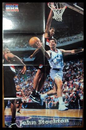 JOHN STOCKTON. NBA. ENTRADA A CANASTA. PÓSTER (Coleccionismo Deportivo - Carteles otros Deportes)