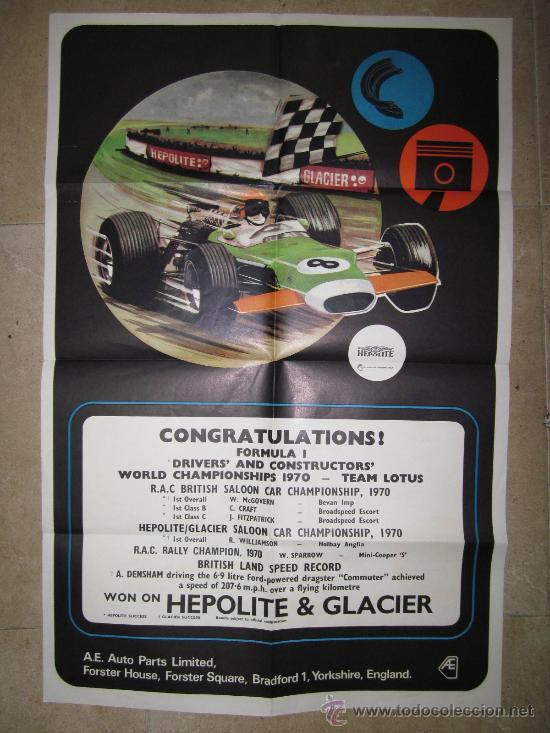CONGRATULATIONS FORMULA 1 DRIVER'S AND CONSTRUCTOR'S WORLD CHAMPIONSHIPS 1970-TEAM LOTUS (Coleccionismo Deportivo - Carteles otros Deportes)
