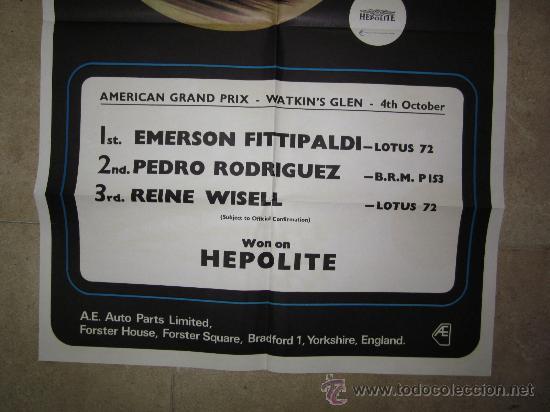 Coleccionismo deportivo: CARTEL AMERICAN GRAND PRIX, WATKIN'S GLEN, 4 DE OCTUBRE DE 1971-72 - EMERSON FITTIPALDI - Foto 2 - 75477394