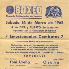 Coleccionismo deportivo: CARTEL DE BOXEO EN CORDOBA AÑO 1968. Lote 29466099
