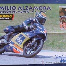 Coleccionismo deportivo: POSTER EMILIO ALZAMORA CAMPEON DEL MUNDO 1999 MUNDO 125 CC DEPORTIVO NUEVO MEDIDAS 60 X 40 CENT . Lote 31152922