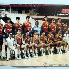 Coleccionismo deportivo: PÓSTER BALONCESTO SELECCIÓN ESPAÑOLA MARCA ATENAS 1987 42 CM X 28 CM. Lote 31237006