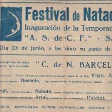 Coleccionismo deportivo: CARTEL FESTIVAL DE NATACION INAUGURACION TEMPORADA 1929 SALLENT. Lote 31862701