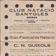 Coleccionismo deportivo: CARTEL CLUB NATACIO BANYOLES GRAN FESTIVAL DE NATACIO C.N. GUIXOLS C.N. BANYOLES. Lote 31862732