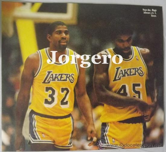 Coleccionismo deportivo: MAGIC JOHNSON & A.C.GREEN. LOS ANGELES LAKERS 1987-1988. CAMPEONES NBA. RECORTE - Foto 1 - 33024571