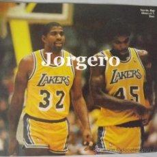 Coleccionismo deportivo: MAGIC JOHNSON & A.C.GREEN. LOS ANGELES LAKERS 1987-1988. CAMPEONES NBA. RECORTE. Lote 33024571