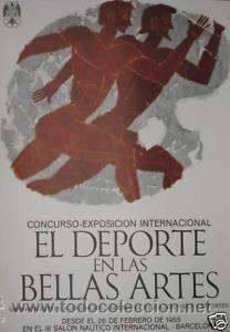 CARTEL EL DEPORTE EN LAS BELLAS ARTES.1965. HUGUET. 48X69 CM. OFFSET.B+(Coleccionismo Deportivo - Carteles otros Deportes)