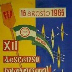 Coleccionismo deportivo: CARTEL PIRAGÜISMO.CANTABRIA (AMPUERO). DESCENSO INTER. RIO ASÓN.1965. SUAREZ GARMENDIA. 60X85 CM. . Lote 33249383