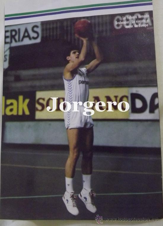 DRAZEN PETROVIC. REAL MADRID BALONCESTO. LANZAMIENTO A CANASTA. RECORTE (Coleccionismo Deportivo - Carteles otros Deportes)