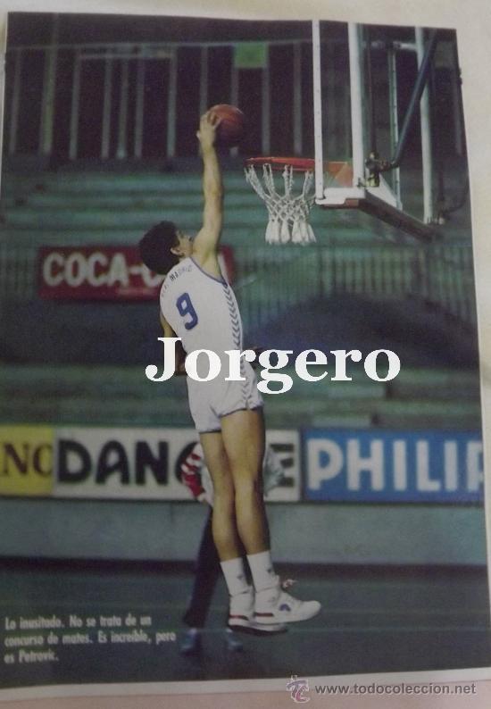 Coleccionismo deportivo: DRAZEN PETROVIC. REAL MADRID BALONCESTO. LANZAMIENTO A CANASTA. RECORTE - Foto 2 - 33295722