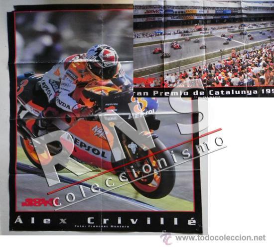 PÓSTER DOBLE DE ÁLEX CRIVILLÉ - GRAN TAMAÑO - DEPORTE MOTOS MOTO - GRAN PREMIO CATALUÑA AÑO 1999 (Coleccionismo Deportivo - Carteles otros Deportes)