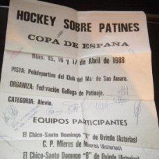 Coleccionismo deportivo: HOCKEY SOBRE PATINES COPA DE ESPAÑA 1988 CARTEL CON FIRMAS. Lote 195704973