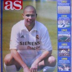Coleccionismo deportivo: POSTER GIGANTE REAL MADRID FICHAJE RONALDO 2002 - DIARIO AS - . Lote 35513929