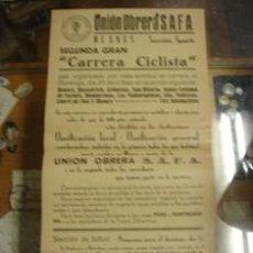Coleccionismo deportivo: CARRERA CICLISTA - UNIÓN OBRERA S.A.F.A. Lote 38508806