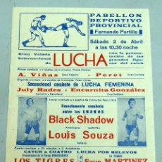 Coleccionismo deportivo: CARTEL LUCHA CÁDIZ PABELLÓN DEPORTIVO FERNANDO PORTILLO COMBATES HOMBRES MUJERES ENANOS. Lote 39612223