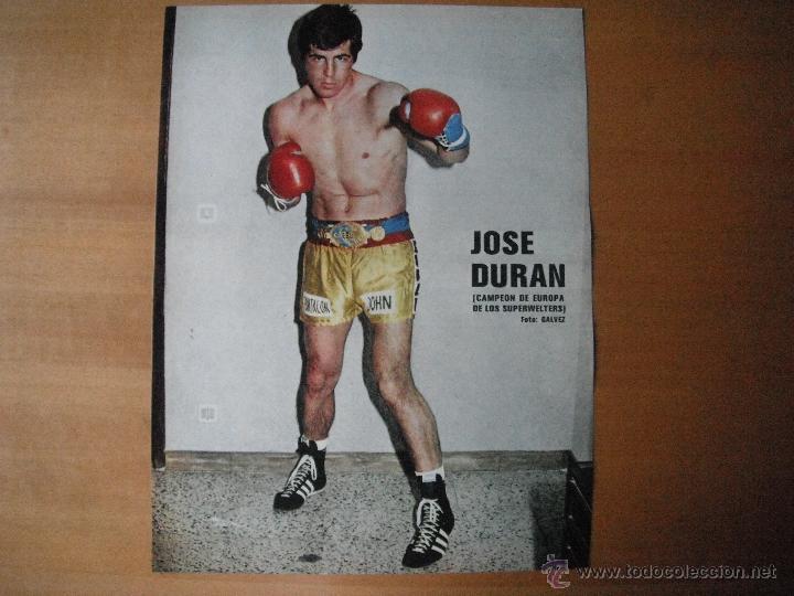 POSTER AS COLOR 1/2 PAGINA. JOSE DURAN (CAMPEON DE EUROPA SUPERWELTERS). AÑOS 70'. (Coleccionismo Deportivo - Carteles otros Deportes)