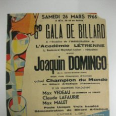 Coleccionismo deportivo: CARTEL/CARTELL.- RICARD. GALA DE BILLAR A TOULOUSE 1966.CON JOAQUIN DOMINGO.60X48.. Lote 39940654