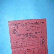 Coleccionismo deportivo: CARTELITO PUBLICITARIO DE 7º TROFEO CICLISTA DOLORENSE 1962,. Lote 40054035