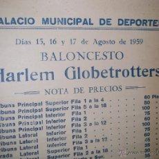 Coleccionismo deportivo: CARTEL DE BALONCESTO ( HARLEM GLOBETROTTERS ) AGOSTO DE 1959. Lote 43659152