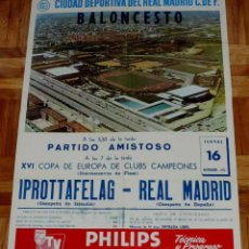 Coleccionismo deportivo: 1972, BALONCESTO CARTEL ORIGINAL REAL MADRID, IPROTTAFELAG (CAMPEON DE ISLANDIA), XVI COPA DE EUROPA. Lote 43957033