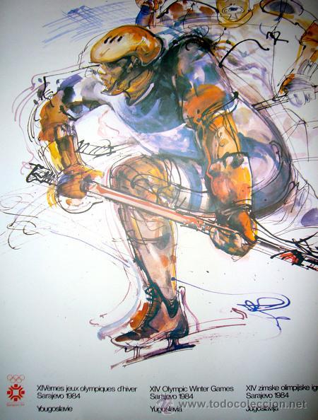 CARTEL JUEGOS OLIMPICOS SARAJEVO 1984. HOCKEY. ARTISTA ISMAR MUJEZINOVIC. HOCKEY (Coleccionismo Deportivo - Carteles otros Deportes)