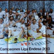 Coleccionismo deportivo: POSTER GIGANTE REAL MADRID CAMPEON LIGA ESPAÑA BASKET 2012/2013 BALONCESTO HALA MADRID ENDESA 12 13. Lote 46958661