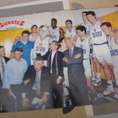 Coleccionismo deportivo: POSTER BALONCESTO REAL MADRID CAMPEON LIGA 2002 - 03 2003 SABONIS ANTUNEZ CARGOL SANTOS BIRIUKOV ROM. Lote 58647496