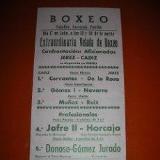 Coleccionismo deportivo: BOXEO.PABELLÓN FERNANDO PORTILLO.CÁDIZ.AFICIONADOS JEREZ-CÁDIZ.PUBLICIDAD CERVEZA CRUZ BLANCA.. Lote 47254321