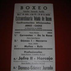 Coleccionismo deportivo: BOXEO.PABELLÓN FERNANDO PORTILLO.CÁDIZ.AFICIONADOS JEREZ-CÁDIZ.PUBLICIDAD CERVEZA CRUZ BLANCA.. Lote 47254357
