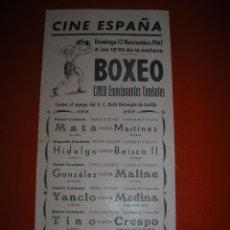 Coleccionismo deportivo: BOXEO.CINE ESPAÑA.CÁDIZ.5 GRANDES COMBATES.12 DE NOVIEMBRE DE 1961.. Lote 47254437