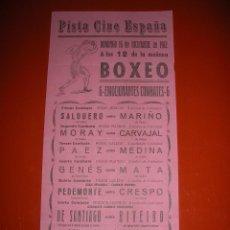 Coleccionismo deportivo: BOXEO.PISTA CINE ESPAÑA.CÁDIZ.SEIS EMOCIONANTES COMBATES.16 DE DICIEMBRE DE 1962. Lote 47254511