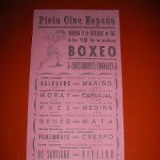 Coleccionismo deportivo: BOXEO.PISTA CINE ESPAÑA.CÁDIZ.SEIS EMOCIONANTES COMBATES.16 DE DICIEMBRE DE 1962. Lote 47254537