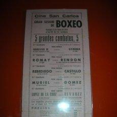Coleccionismo deportivo: BOXEO.CINE SAN CARLOS.CÁDIZ.CINCO GRANDES COMBATES.22 DE MAYO DE 1949.. Lote 47254588