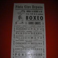 Coleccionismo deportivo: BOXEO.PISTA CINE ESPAÑA.CÁDIZ.SEIS EMOCIONANTES COMBATES.2 DE DICIEMBRE DE 1962. Lote 47254682