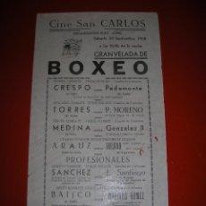 Coleccionismo deportivo: BOXEO.CINE SAN CARLOS.CÁDIZ.SEIS COMBATES.20 DE SEPTIEMBRE DE 1958.. Lote 47254743