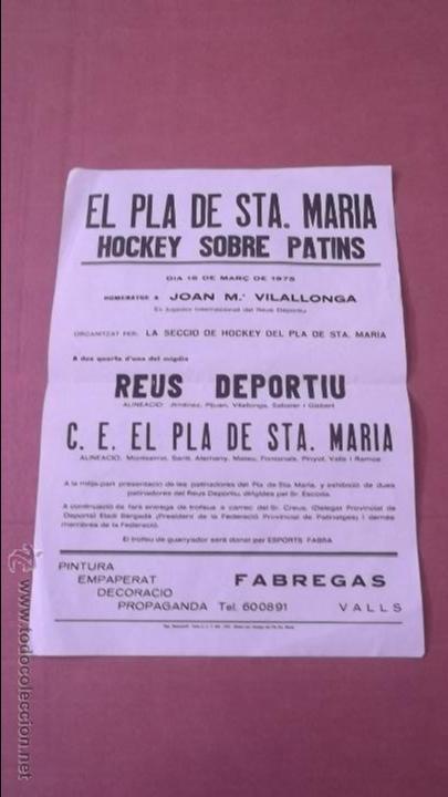 CARTEL DEL HOMENAJE A JOAN MARÍA VILLALLONGA 1975 HOCKEY SOBRE PATINES REUS DEPORTIU (Coleccionismo Deportivo - Carteles otros Deportes)