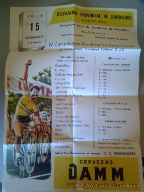 CARTEL DEL IV CAMPEONATO PROVINCIAL JUVENIL DE CICLISMO - GRANOLLERS 15 JULIO 1962 (Coleccionismo Deportivo - Carteles otros Deportes)