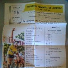 Coleccionismo deportivo: CARTEL DEL IV CAMPEONATO PROVINCIAL JUVENIL DE CICLISMO - GRANOLLERS 15 JULIO 1962. Lote 47786612