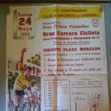 Coleccionismo deportivo: CARTEL GRAN CARRERA CICLISTA PARA PRINCIPIANTES Y AFICIONADOS DE 2ª - SABADELL 24 MAYO 1959. Lote 47786886