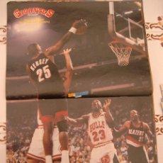 Coleccionismo deportivo: POSTER BALONCESTO NBA MICHAEL JORDAN CLYDE DREXLER JEROME KERSEY MUY BUEN ESTADO. Lote 48282740