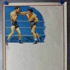 Coleccionismo deportivo: PRECIOSO CARTEL DE BOXEO - SIN IMPRIMIR - AÑO 1963. Lote 67296375