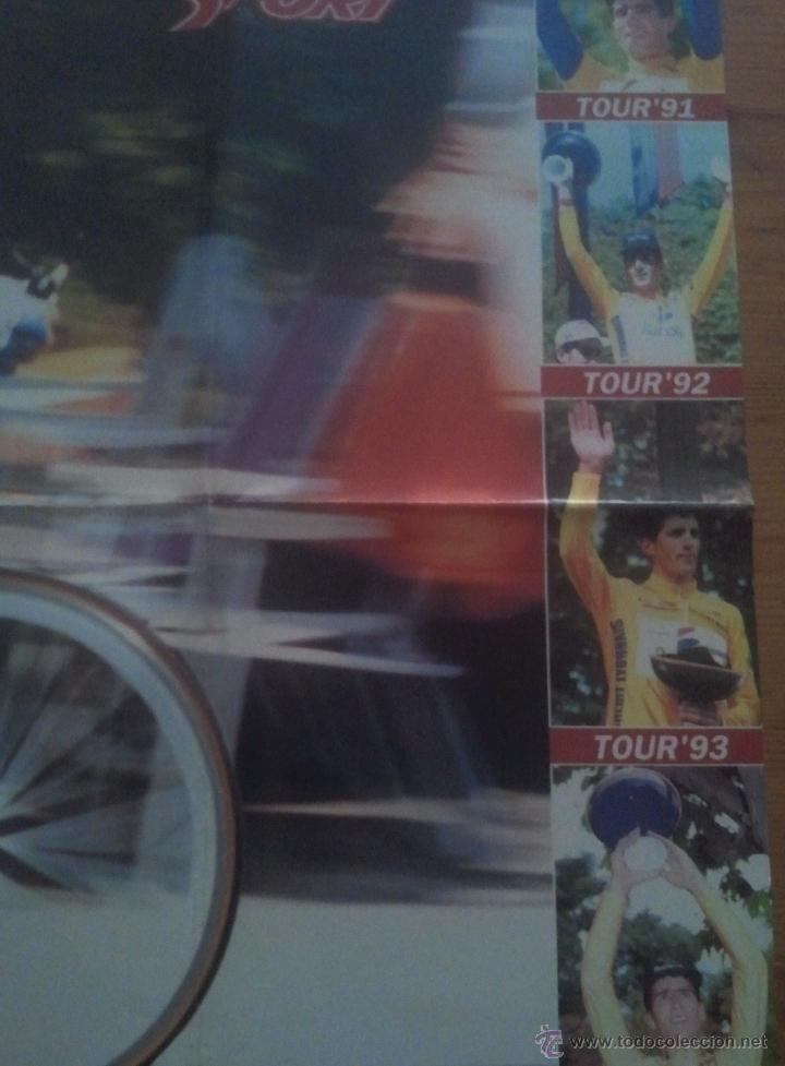 Coleccionismo deportivo: POSTER INDURAIN PENTACAMPEON TOUR 95 - SPORT CICLISMO 79x60 - Foto 2 - 49596984