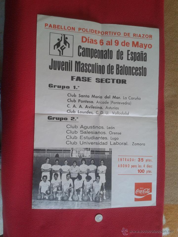 CARTEL POSTER DE BALONCESTO BASKET CAMPEONATO ESPAÑA JUVENIL MASCULINO. RIAZOR PUBLICIDAD COCA COLA (Coleccionismo Deportivo - Carteles otros Deportes)