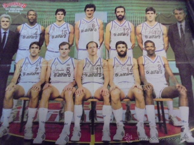 GIGANTES DEL BASKET - REAL MADRID CAMPEON LIGA 1985-86 - REVERSO BARÇA - AUTÓGRAFOS - ENVIO GRATIS (Coleccionismo Deportivo - Carteles otros Deportes)