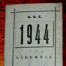 Coleccionismo deportivo: CARNET DE LA UNION VELOCIPEDICA ESPAÑOLA (CICLISMO), AÑO 1944, MADRID, MIDE ABIERTO 14 X 11 CMS.. Lote 52944829