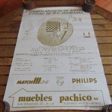 Coleccionismo deportivo: CARTEL 1 TORNEO DE AJEDREZ CIUDAD DE DOS HERMANAS 1991 MIDE 69.5 X 48 CM. Lote 53745867