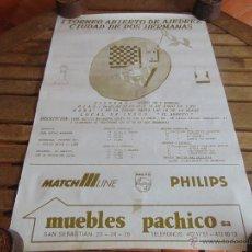 Coleccionismo deportivo: CARTEL 1 TORNEO DE AJEDREZ CIUDAD DE DOS HERMANAS 1991 MIDE 69.5 X 48 CM. Lote 53745937