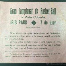 Coleccionismo deportivo: CARTEL DEL GRAN CAMPEONATO DE BASKET - BALL. EN PISTA CUBIERTA. IRIS PARK. BALONCESTO. 15 X 16,5 CM.. Lote 54817755