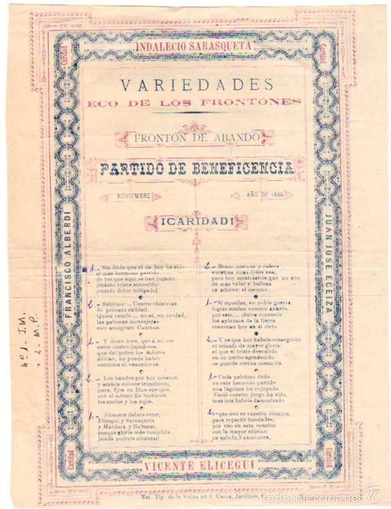 CARTEL PARTIDO DE BENEFICENCIA PELOTARIS. FRONTON ABANDO. BILBAO. AÑOS 1886-1887 (Coleccionismo Deportivo - Carteles otros Deportes)
