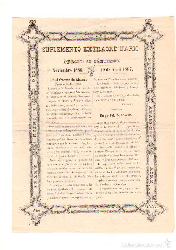 Coleccionismo deportivo: CARTEL PARTIDO DE BENEFICENCIA PELOTARIS. FRONTON ABANDO. BILBAO. AÑOS 1886-1887 - Foto 2 - 56507088